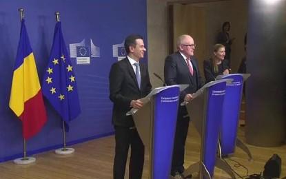 Premierul Grindeanu, conferinţă comună la Bruxelles cu Frans Timmermans – prim-vicepreşedinte CE: Voi face o propunere de ministru al Justitiei săptămâna viitoare, ar putea fi o persoana apolitica