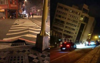 CUTREMUR cu magnitudinea de 6,4 grade, în Taiwan. Un hotel s-a prăbuşit parţial în urma seismului